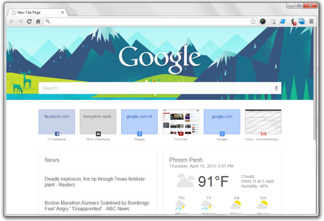 New Tab Page - Google Chrome