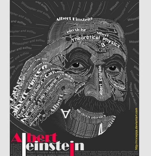albert-einstein-typography-Portraits