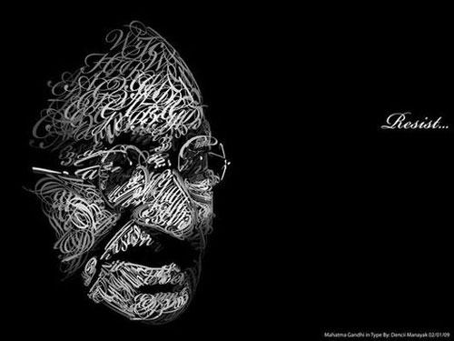 Typographic-portrait-mahatma-gandhi